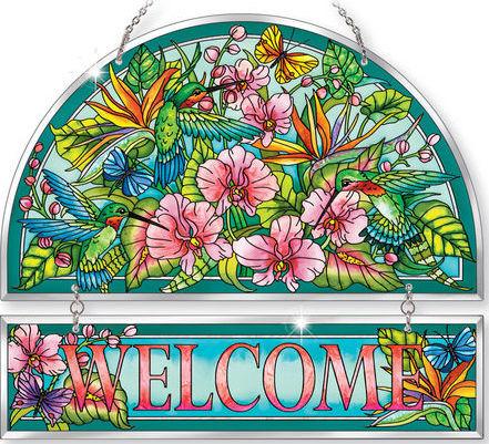 Amia 42383 Hummingbirds Orchard Beveled Welcome Panel