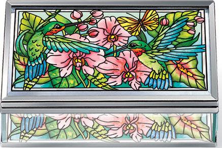 Amia 42386 Hummingbirds Orchard Jewelry Box