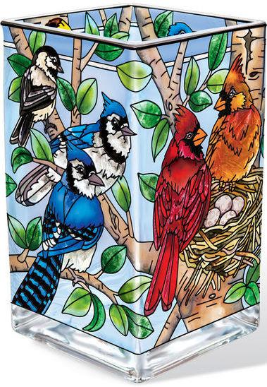 Amia 42388 Nested Birds Rectangular Vase Votive Holder