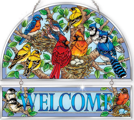 Amia 42391 Nested Birds Beveled Welcome Panel