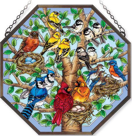 Amia 42392 Nested Birds Beveled Medium Octagon Panel