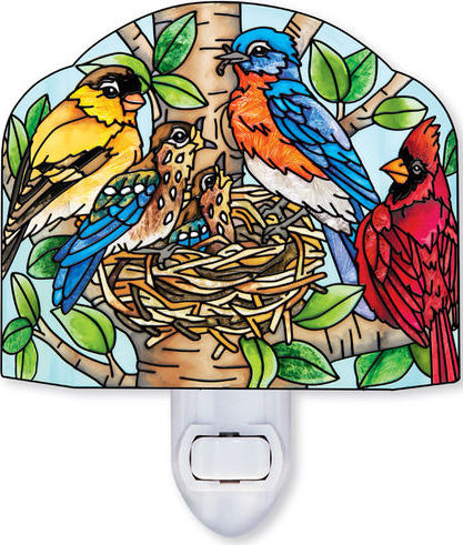Amia 42395 Nested Birds Screen Shaped Night Light