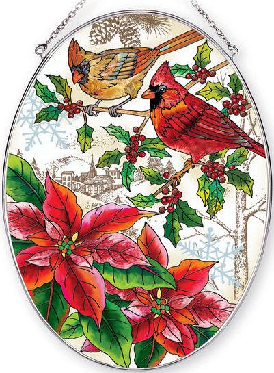 Amia 42404 Crimson Christmas Large Oval Suncatcher