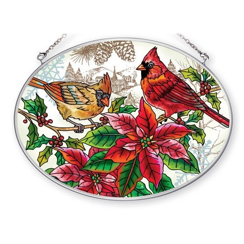 Amia 42405 Crimson Christmas Medium Oval Suncatcher