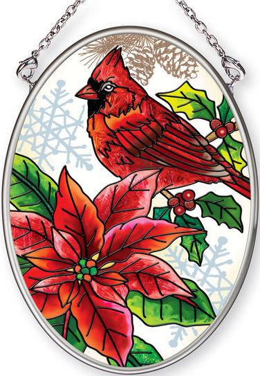 Amia 42406 Crimson Christmas Small Oval Suncatcher