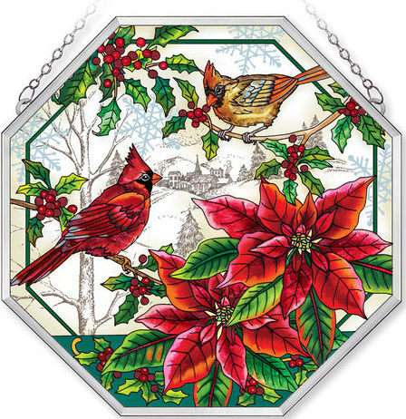 Amia 42411 Crimson Christmas Beveled Medium Octagon Panel