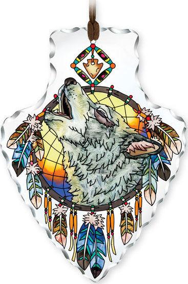 Amia 42415 Wolf Head Large Arrowhead Suncatcher