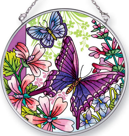 Amia 42434 Butterflies Wildflowers Medium Circle Suncatcher