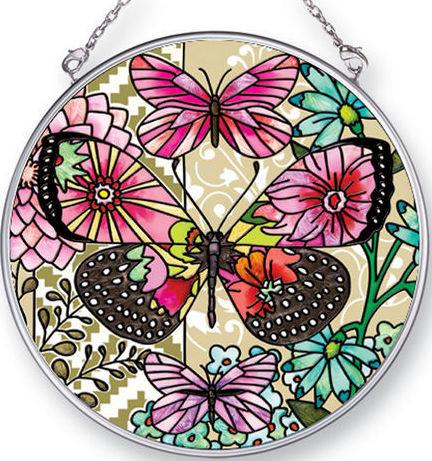 Amia 42436 Flower Spotted Btrfly Dream Medium Circle Suncatcher