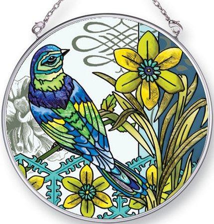 Amia 42437 Aviary Green Bird Medium Circle Suncatcher