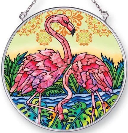 Amia 42440 Flamingo Lagoon Square Medium Circle Suncatcher