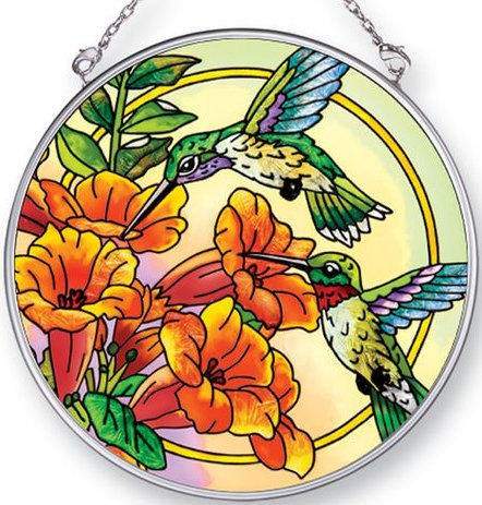 Amia 42448 Hummingbirds Trumpet Flower Medium Circle Suncatcher
