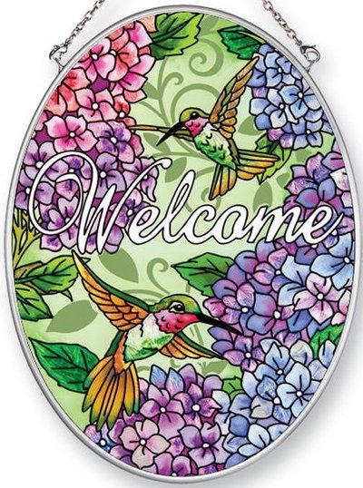 Amia 42455 Hydrangeas Hummingbirds Medium Oval Suncatcher