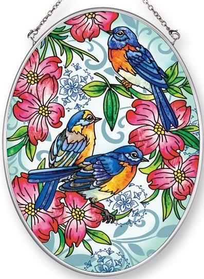Amia 42456 Bluebirds Dogwood Medium Oval Suncatcher