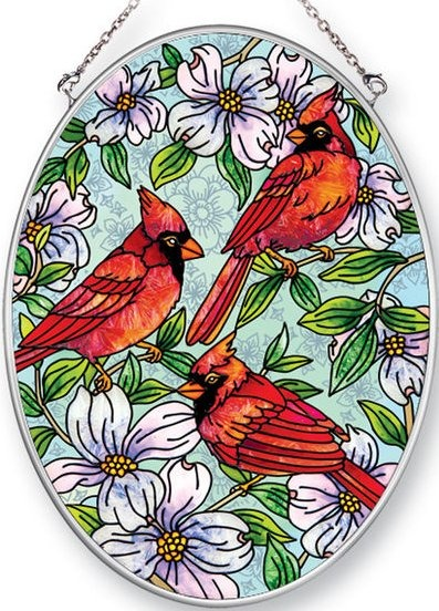 Amia 42459 Cardinals Dogwood Medium Oval Suncatcher