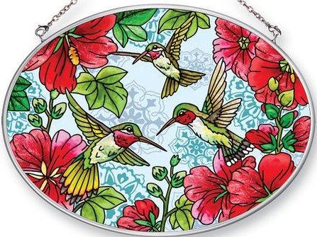 Amia 42460 Hollyhocks Hummingbirds Medium Oval Suncatcher