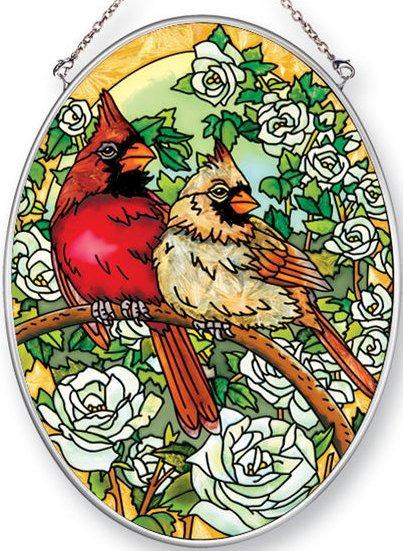 Amia 42463 Bower Cardinals Medium Oval Suncatcher