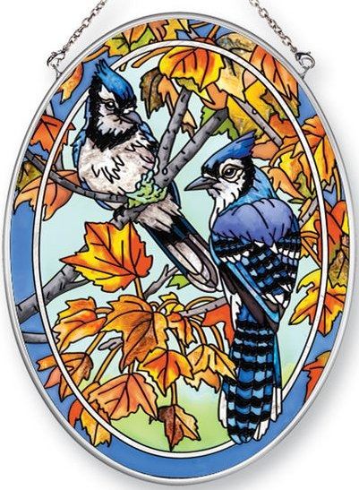 Amia 42464 Bluejays Maple Leaves Medium Oval Suncatcher