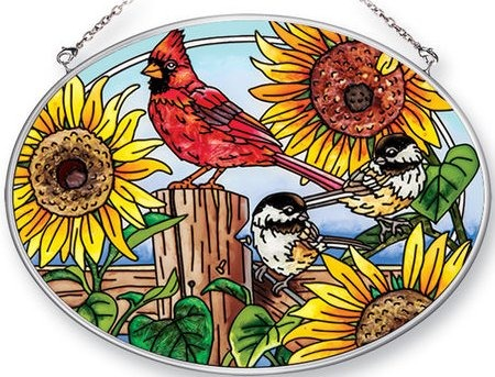 Amia 42473i Sunflowers Songbirds Medium Oval Suncatcher