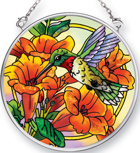 Amia 42477 Hummingbirds Trumpet Flowers Small Circle Suncatcher