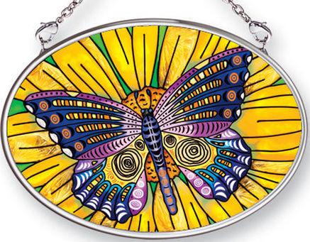 Amia 42487 Butterfly Small Oval Suncatcher