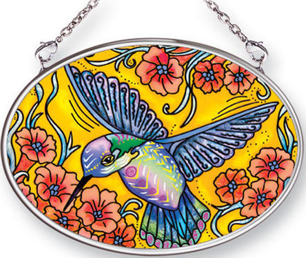 Amia 42488 Hummingbird Small Oval Suncatcher