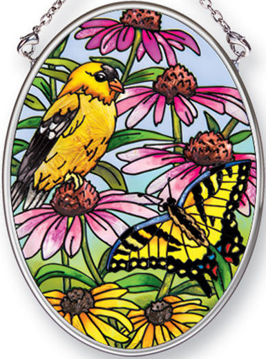 Amia 42493 Golden Finches Small Oval Suncatcher