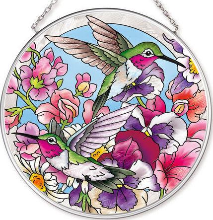 Amia 42518 Hummingbirds Alight Medium Circle Suncatcher