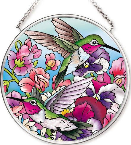 Amia 42519 Hummingbirds Alight Small Circle Suncatcher