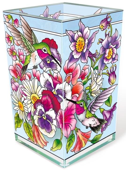 Amia 42521 Hummingbirds Alight Rectangular Vase Votive Holder