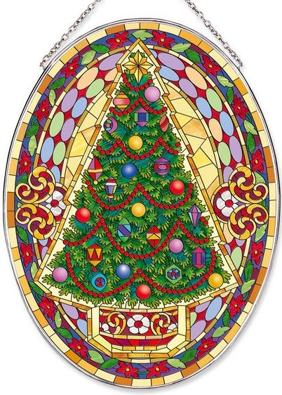 Amia 42528i Mosaic Christmas Tree Large Oval Suncatcher