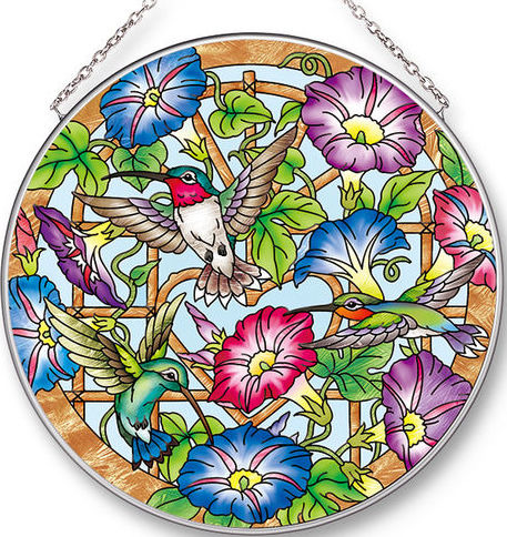 Amia 42529 Morning Glories & Hummers Large Circle Suncatcher