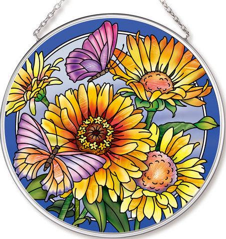 Amia 42533 Daisies & Butterflies Medium Circle Suncatcher
