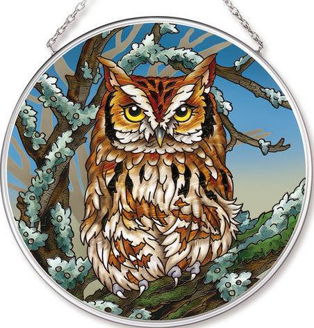 Amia 42535 Owl Medium Circle Suncatcher
