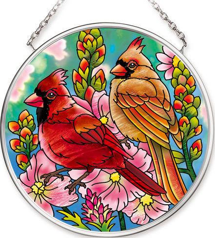 Amia 42545 Cardinal Pair Small Circle Suncatcher