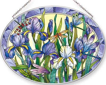 Amia 42551 Iris with Dragonflies Large Oval Suncatcher