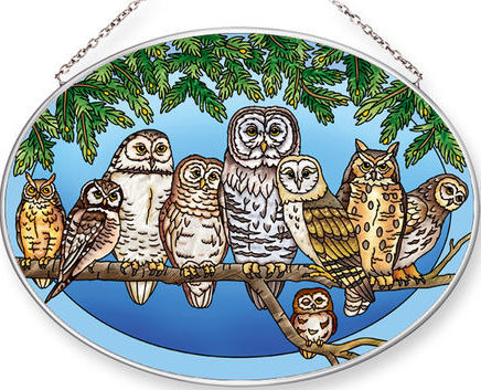 Amia 42552 Owl Night Watch Large Oval Suncatcher
