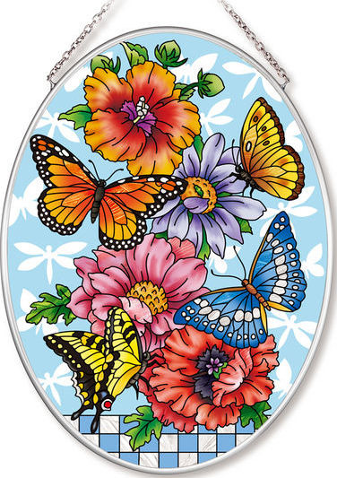 Amia 42554 Butterflies Dragonflies Blossoms Medium Oval Suncatcher