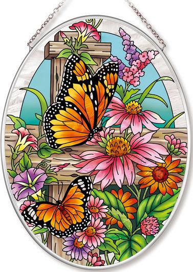 Amia 42555 Monarchs & Coneflowers Medium Oval Suncatcher