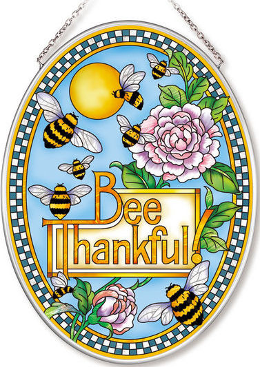 Amia 42559 Bee Thankful Medium Oval Suncatcher