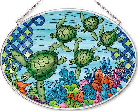 Amia 42560 Green Ocean Turtle Medium Oval Suncatcher