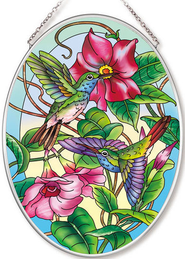 Amia 42562 Hummingbird on Teal Medium Oval Suncatcher
