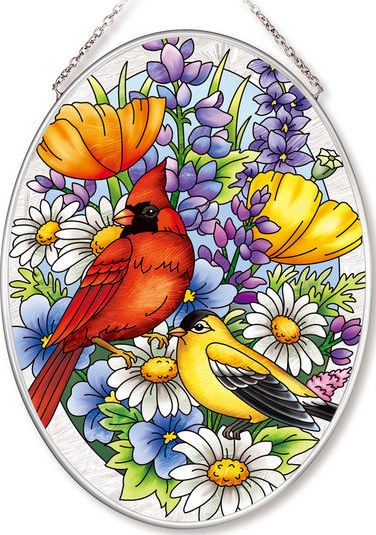 Amia 42563 Garden Oriole and Cardinal Medium Oval Suncatcher