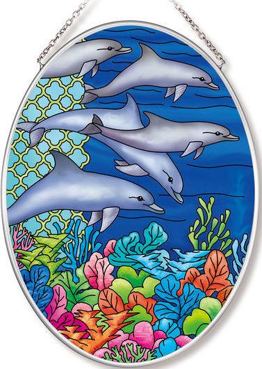 Amia 42568 Ocean Dolphins Medium Oval Suncatcher