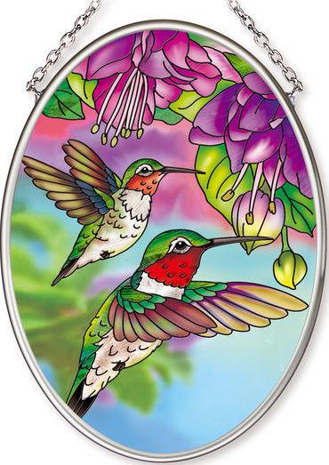 Amia 42570 Hummingbird & Fuschia Small Oval Suncatcher