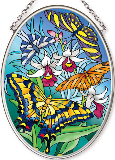 Amia 42574 Island Butterflies Small Oval Suncatcher
