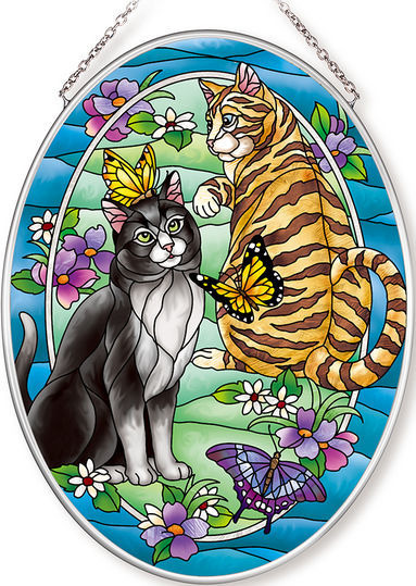Amia 42629 Tiffany Garden Cat Medium Oval Suncatcher