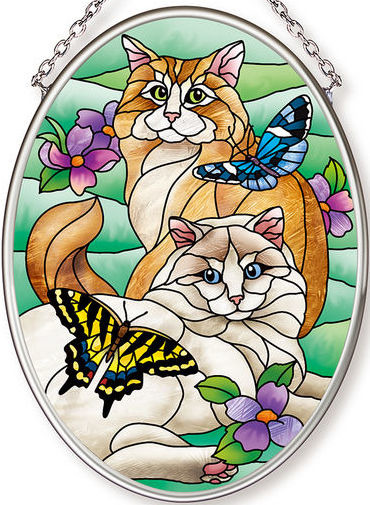 Amia 42630 Tiffany Garden Cat Small Oval Suncatcher