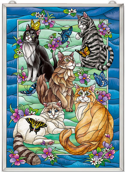 Amia 42631 Tiffany Garden Cat Panel