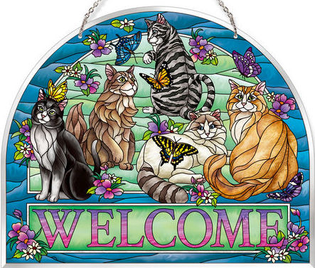 Amia 42632 Tiffany Garden Cat Welcome Panel